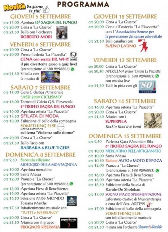 Calendario Funghi.Sagra Del Fungo A Casole D Elsa 2019 Si Toscana