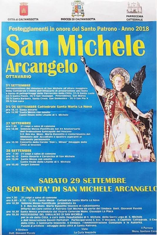 San Michele Data Calendario.Festa Di San Michele Arcangelo A Caltanissetta 2018 Cl