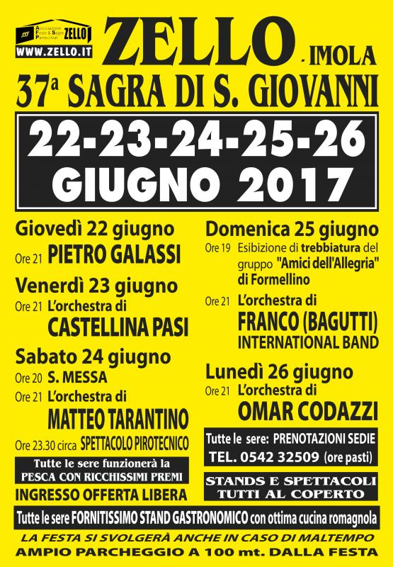 Sagra di s giovanni imola bo 2017 emilia romagna for Sagre emilia romagna 2017