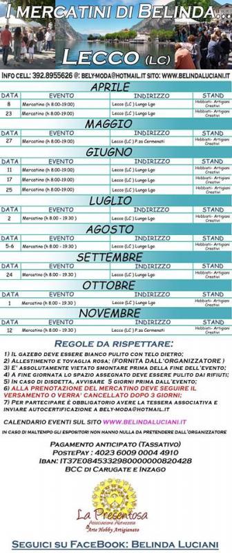 I mercatini di belinda 08 04 2017 12 11 2017 lombardia for Mercatini lecco