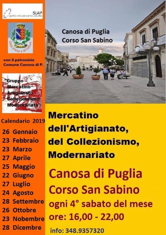 Calendario Mercatini Antiquariato Puglia.Mercatino Dell Artigianato E Del Collezionismo A Canosa Di