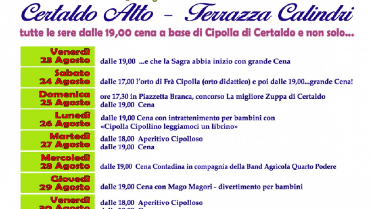 Calendario Cipolle 2019.Sagra Della Cipolla A Certaldo 2019 Fi Toscana