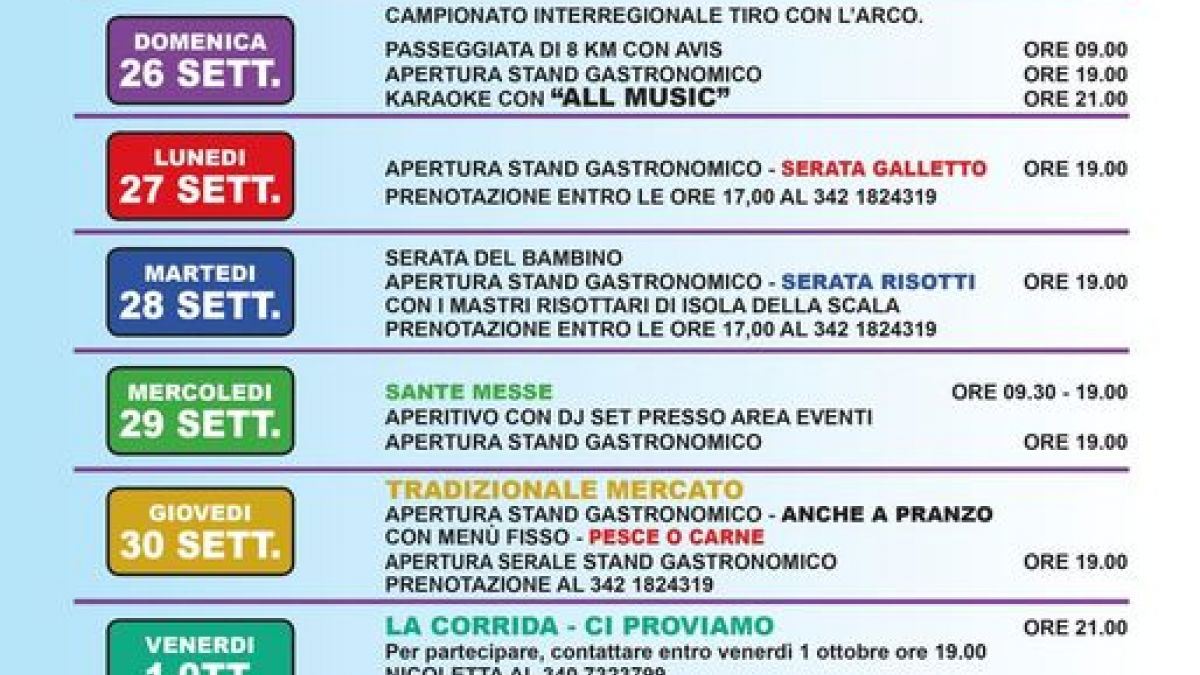 San Michele Data Calendario.Sagra Di San Michele A Sant Angelo Di Piove Di Sacco 2018