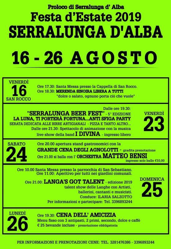 Matteo Bensi Calendario.Festa D Estate A Serralunga D Alba 2019 Cn Piemonte