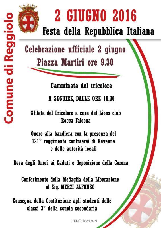 Festa della repubblica italiana a reggiolo 2016 re for Sito della repubblica