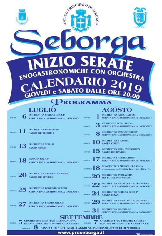 Calendario Sagre.Calendario Manifestazioni Estive Proseborga A Seborga 2019